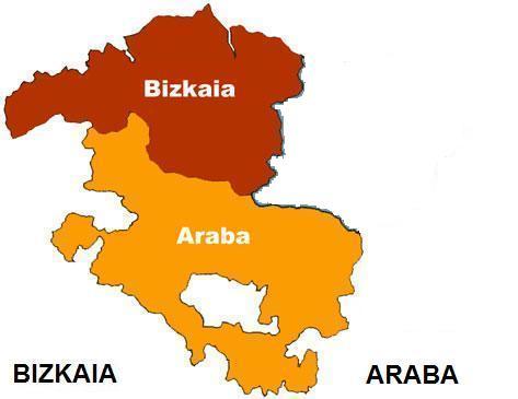 Ikusten dira Bizkaia eta Araben mapa / Se ve el mapa de Bizkaia y Alava